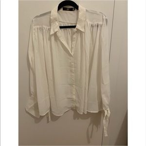 White Chiffon Pleated Blouse